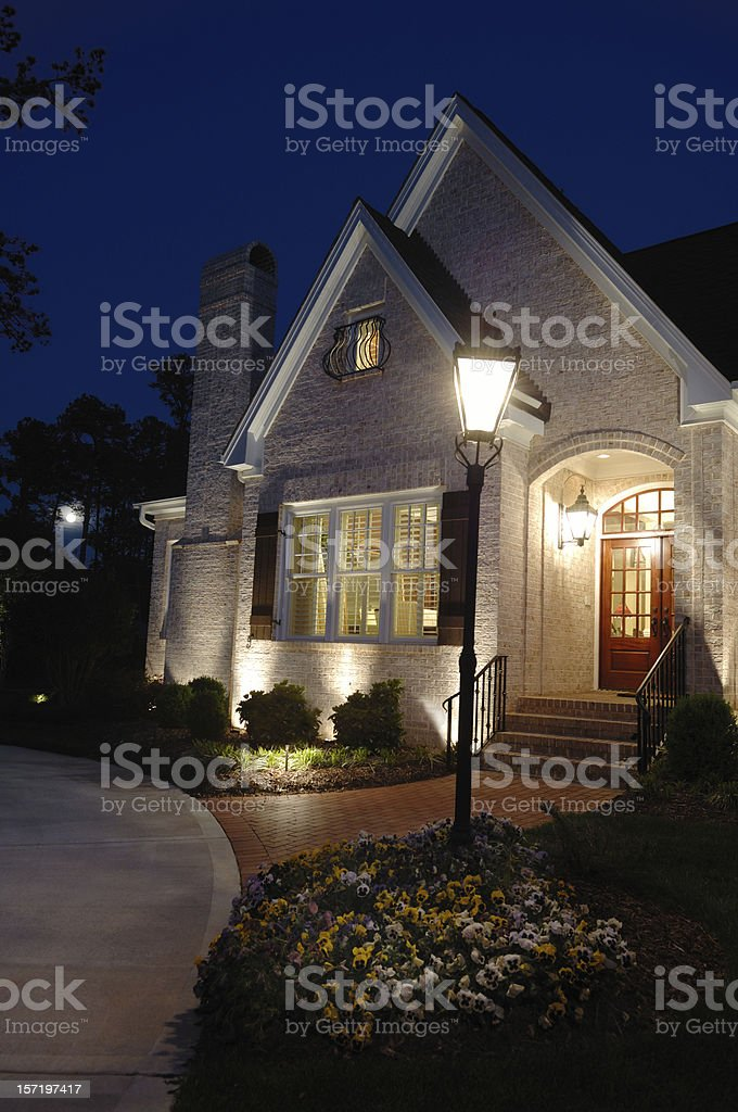 Luxury Home At Night royalty-free stock photo