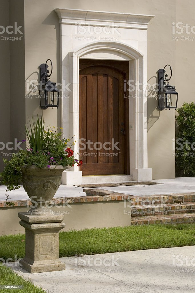 Luxury Home - Front Door, Lanterns & Landscaping royalty-free stock photo