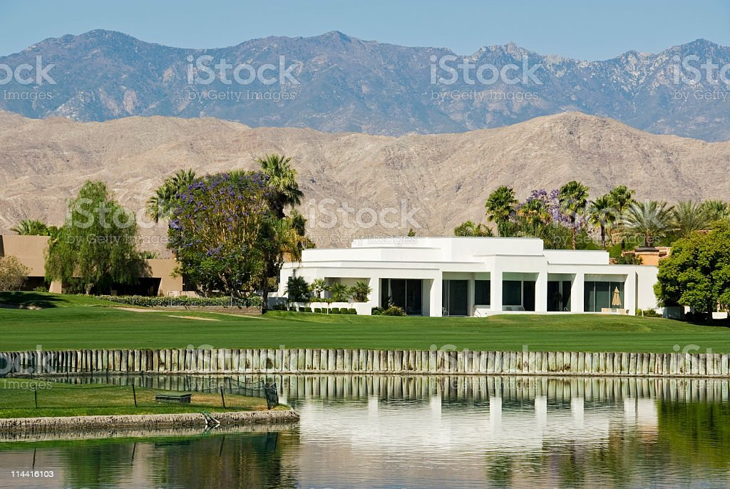 Luxury Home on a Golf Course royalty-free stock photo