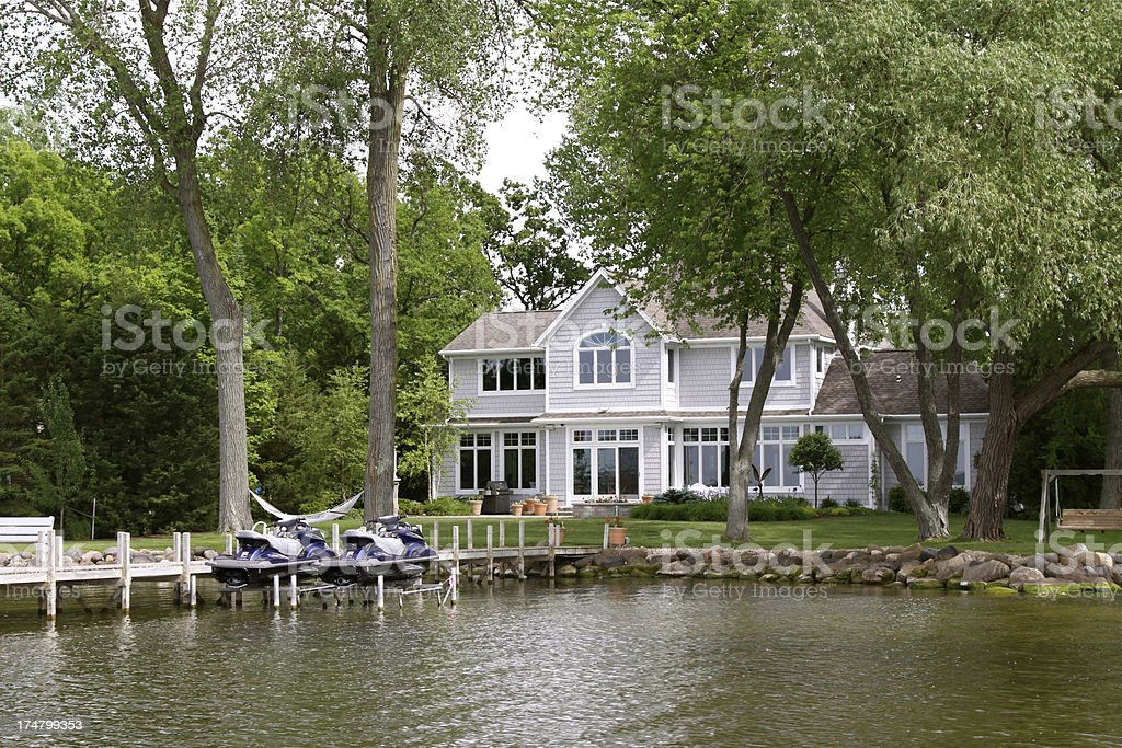 Luxury Home On The Lakefront stock photo
