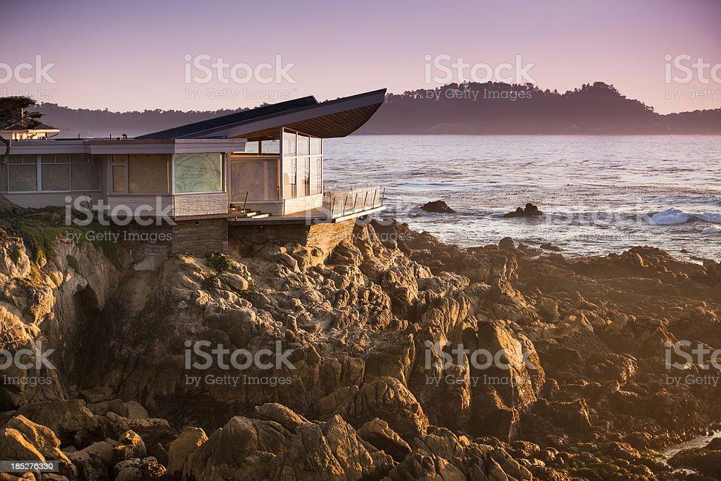 Luxury home overlooks the Big Sur, Coastline and sea stock photo