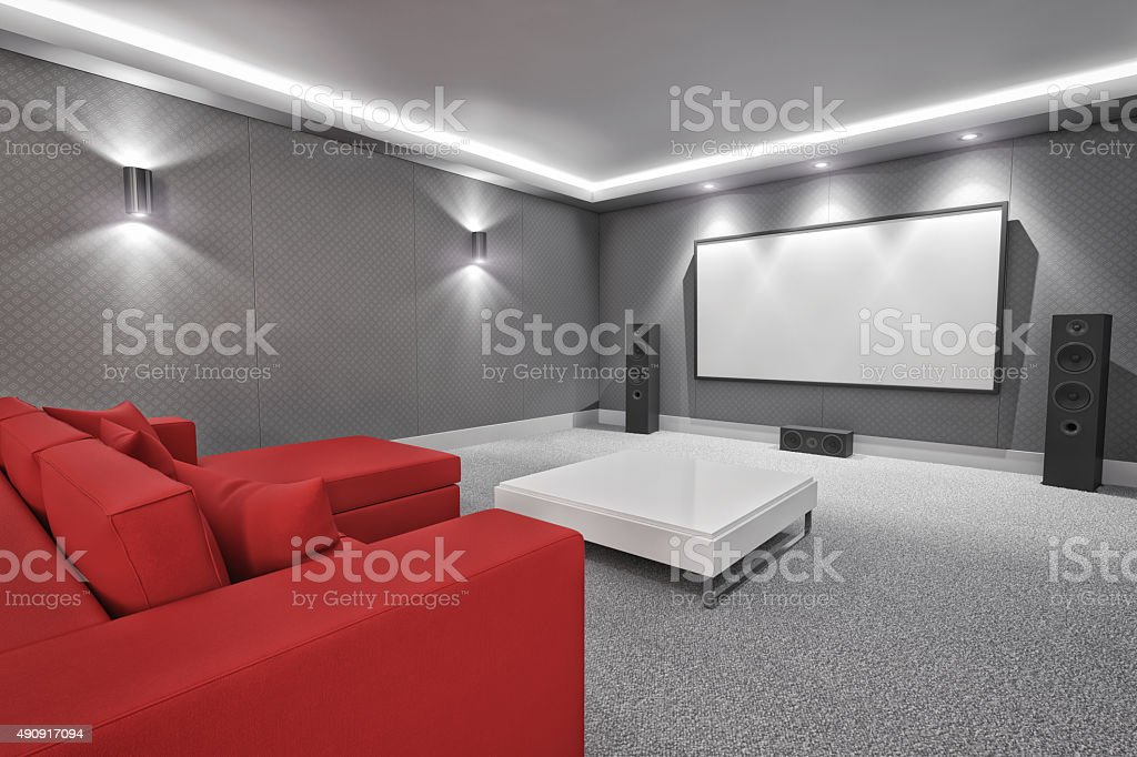 Luxury Home Theater And Media Room stock photo