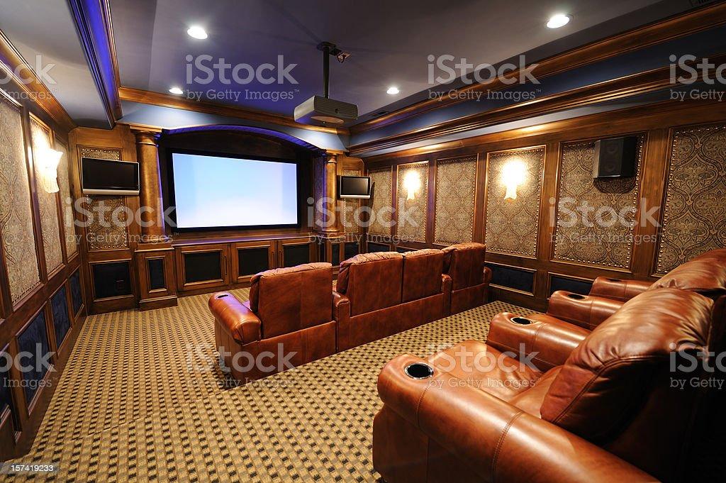 Luxury Home Theater stock photo