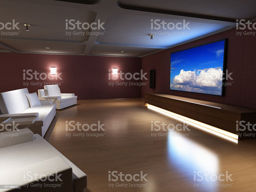 Luxury Home Theater stock photo