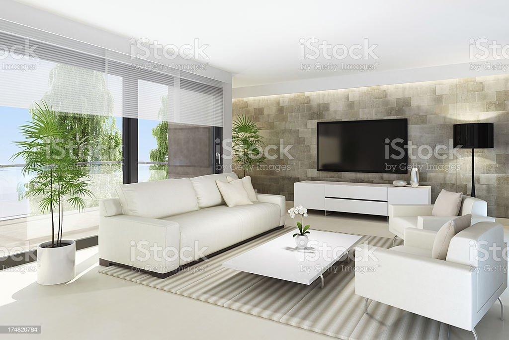 Luxury Home TV Room stock photo
