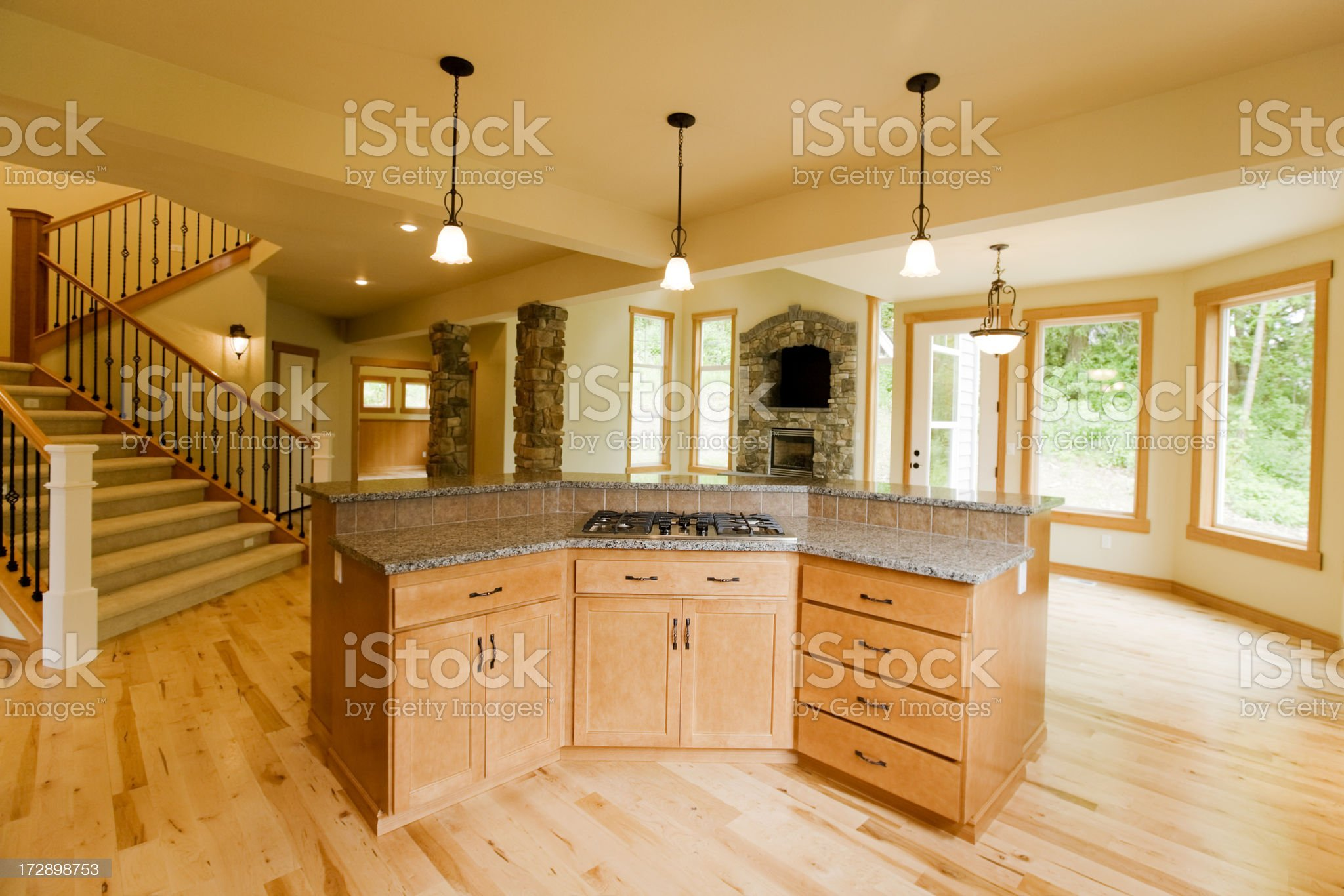 Luxury home with Custom wood Interior royalty-free stock photo