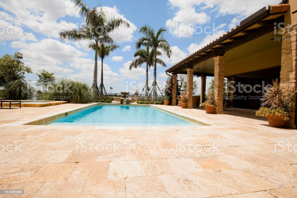 Luxury home with large pool stock photo