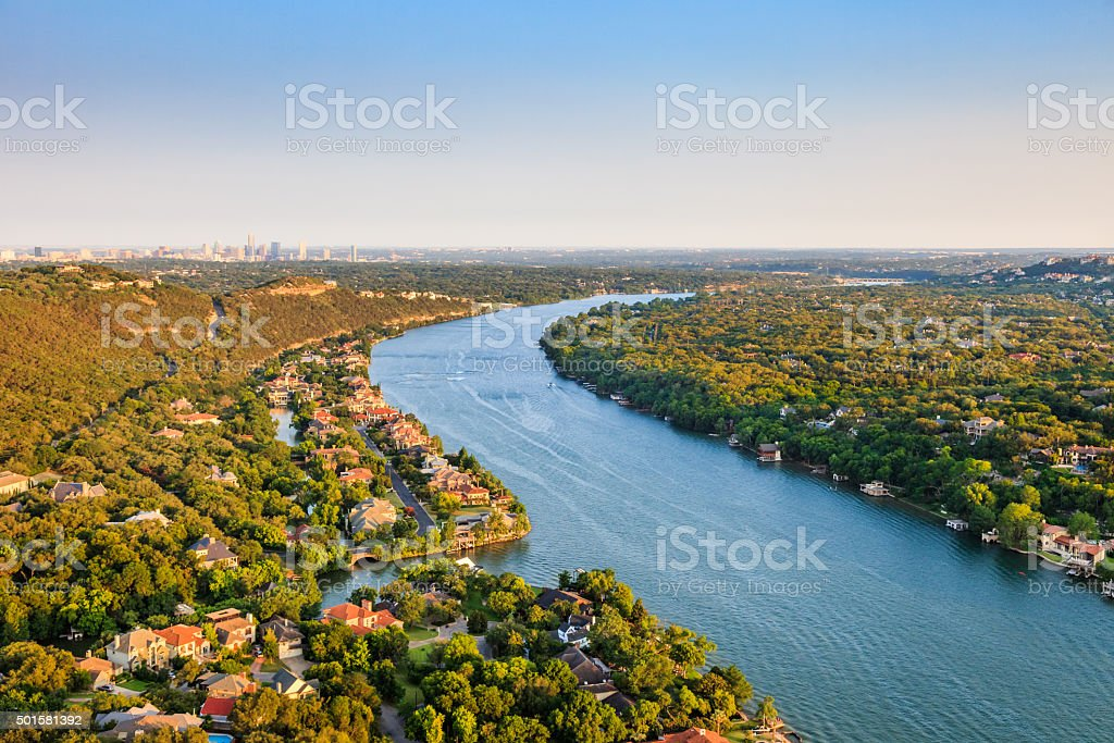 luxury homes, Austin Texas, Colorado River, Mount Bonnell district, aerial stock photo