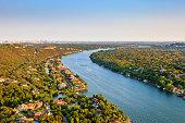 luxury homes, Austin Texas, Colorado River, Mount Bonnell district, aerial