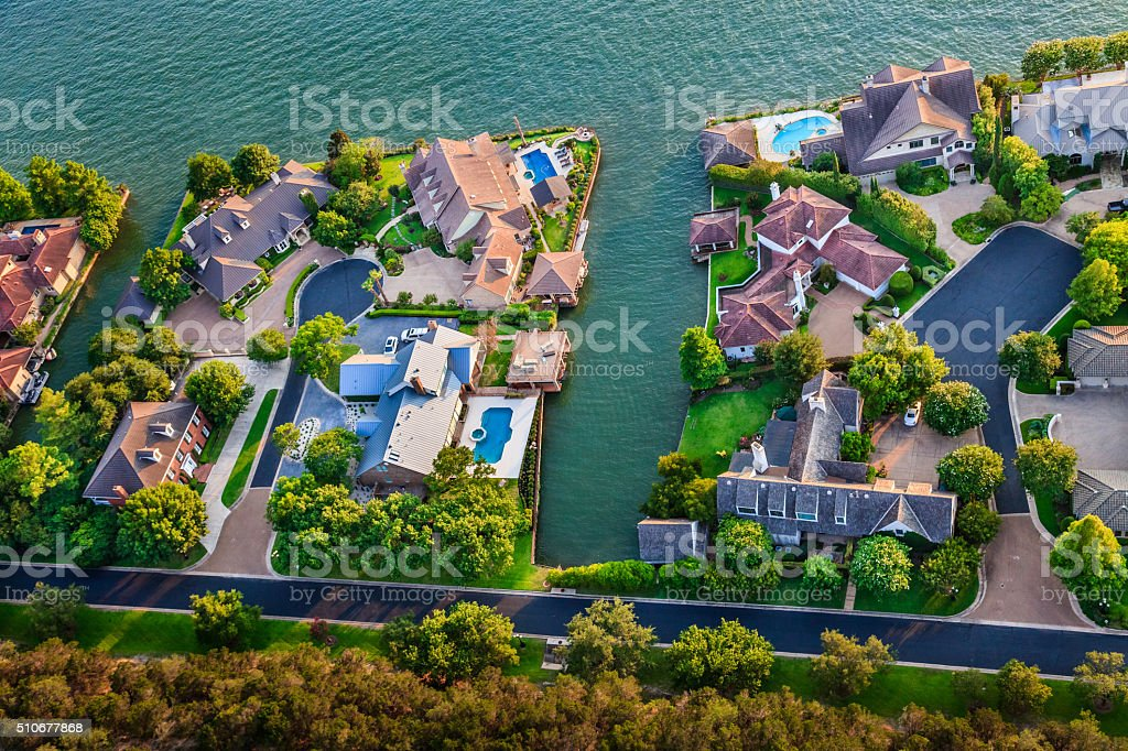 luxury homes, Austin Texas, Colorado River, Mount Bonnell district, aerial stock photo