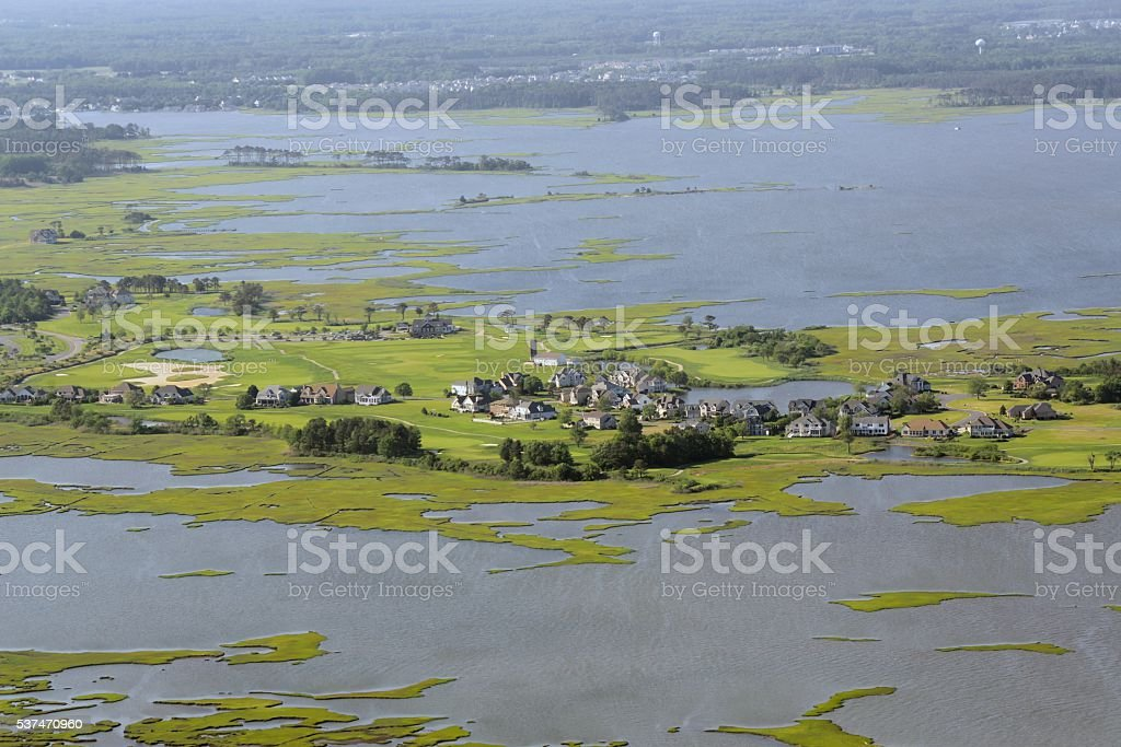Luxury Homes in a Swamp stock photo