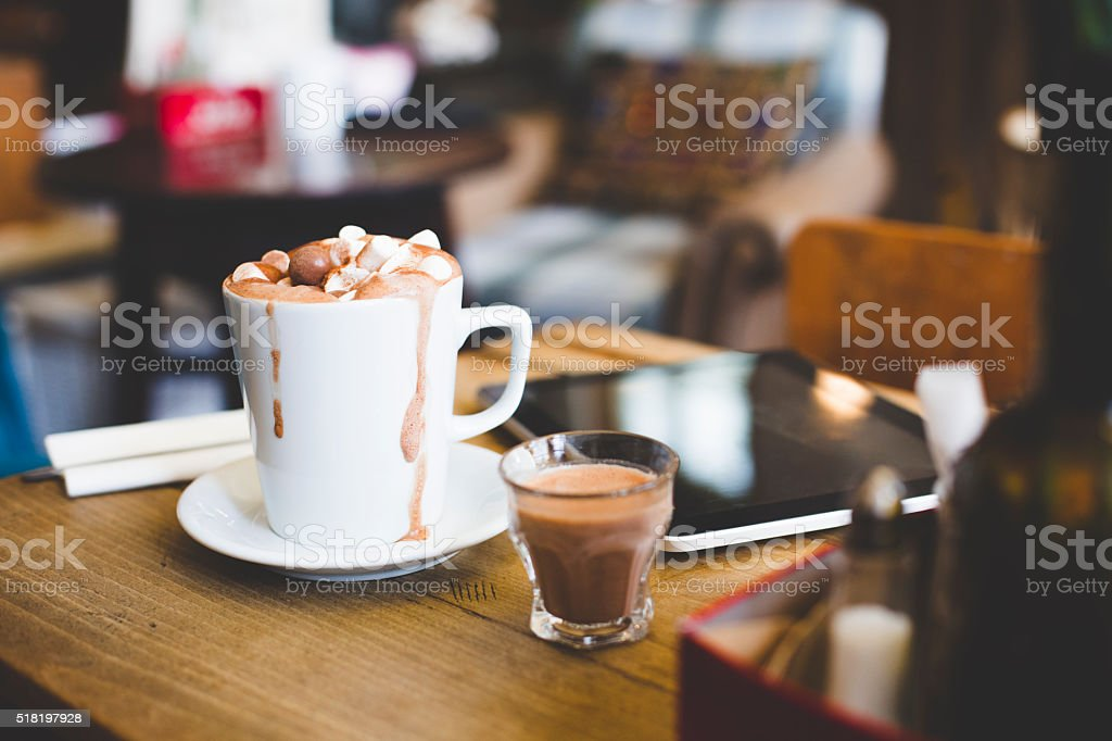 Luxury hot chocolate for one! stock photo