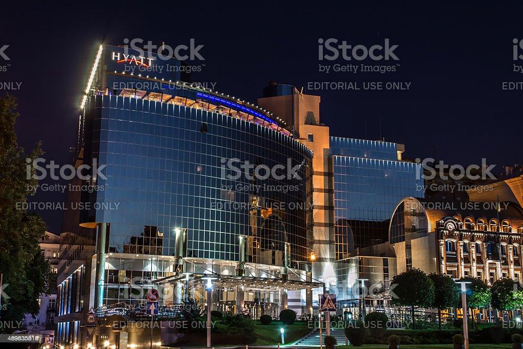 Luxury hotel at night stock photo
