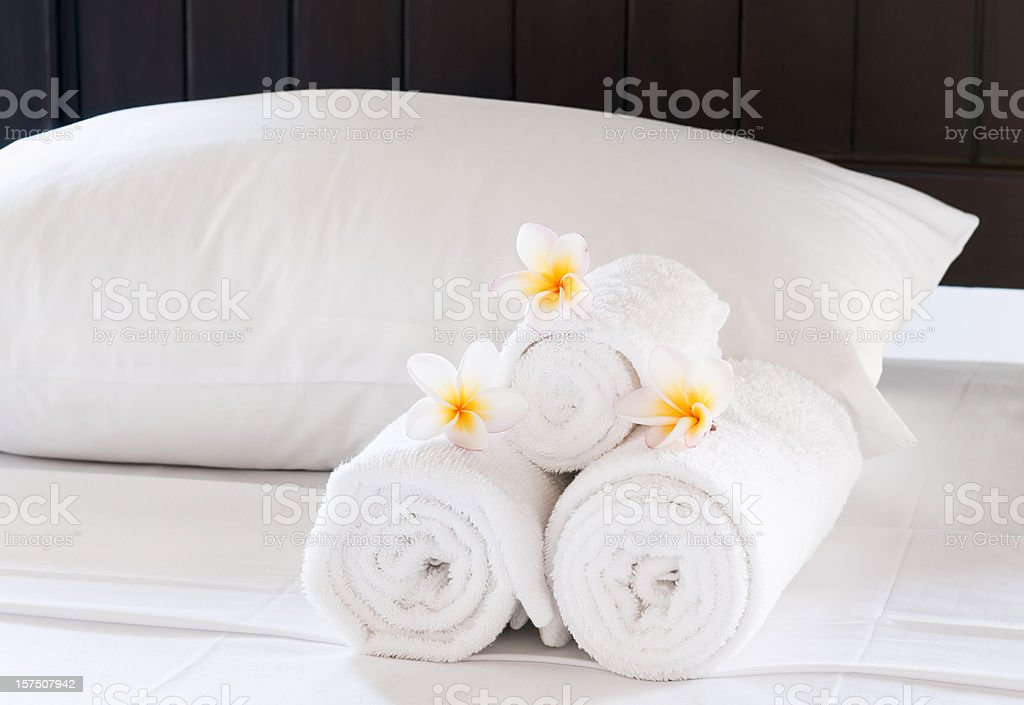 Luxury Hotel Bed Close-Up stock photo