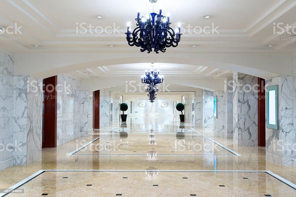 luxury hotel corridor interior with elegant decorations. stock photo