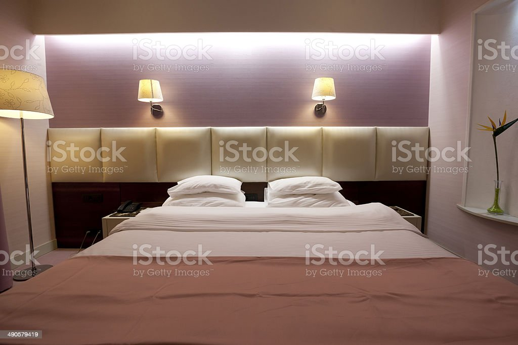 Luxury hotel double bed royalty-free stock photo