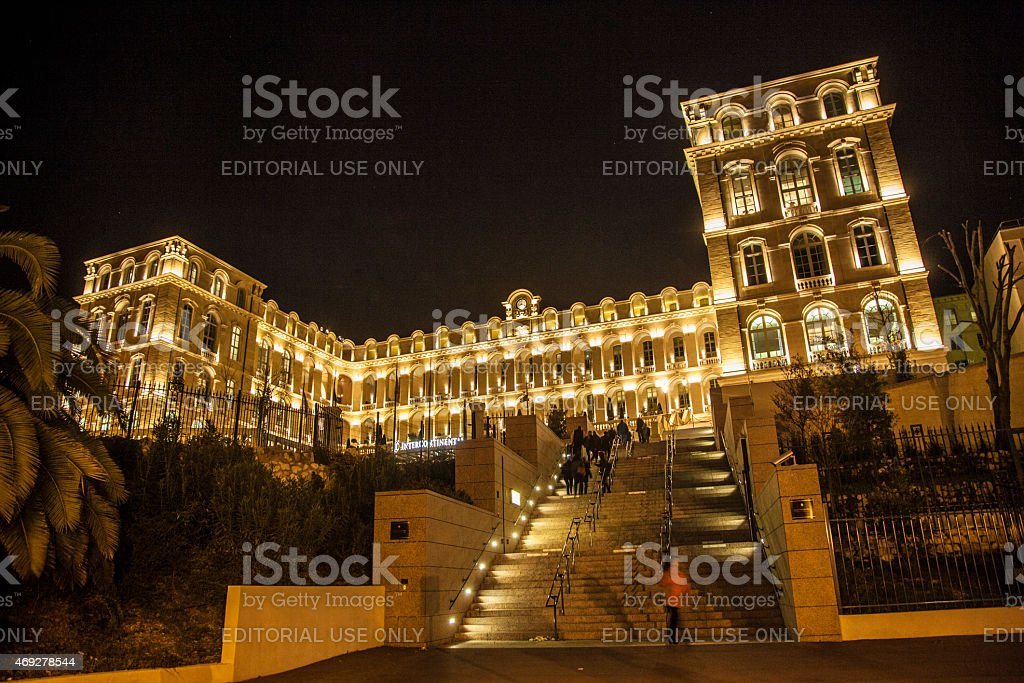 Luxury Hotel in Marseille by night stock photo
