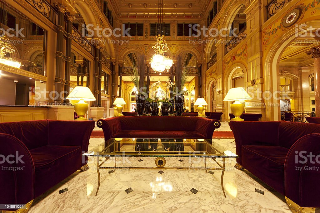 Luxury hotel lobby with columns stock photo