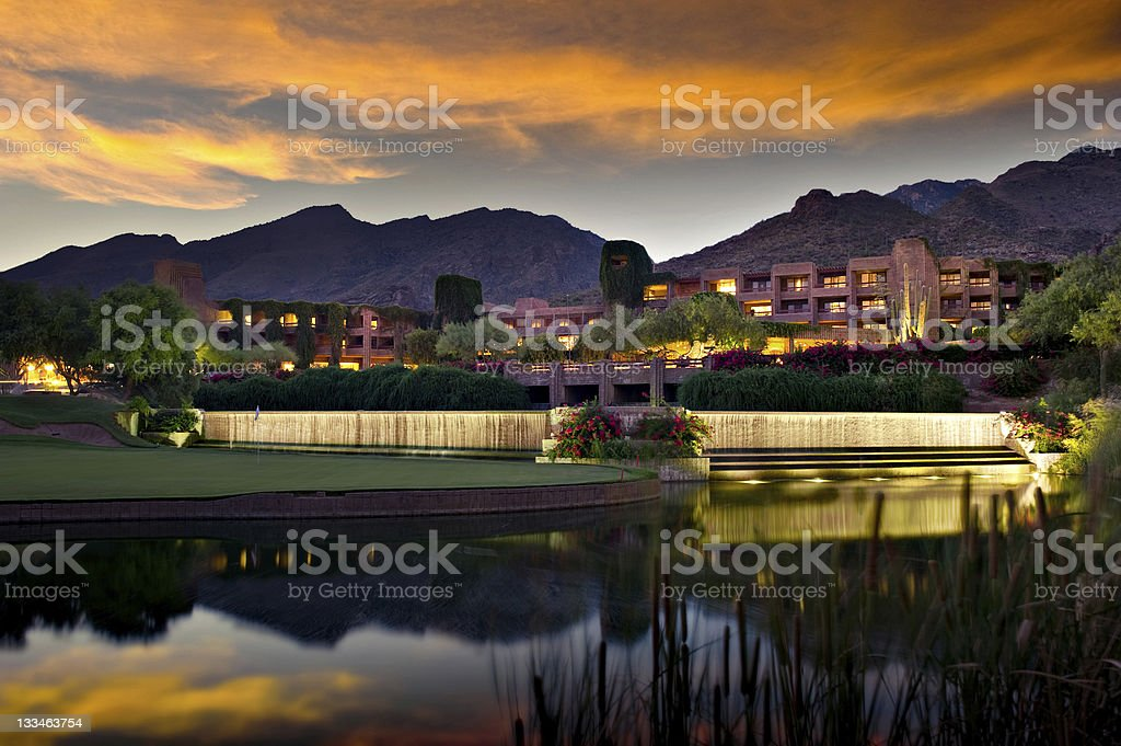 Luxury hotel resort at twilight stock photo