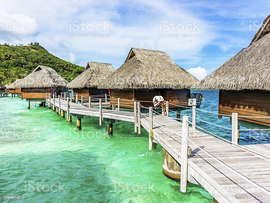 Luxury Hotel Resort Beach Huts Polynesia stock photo