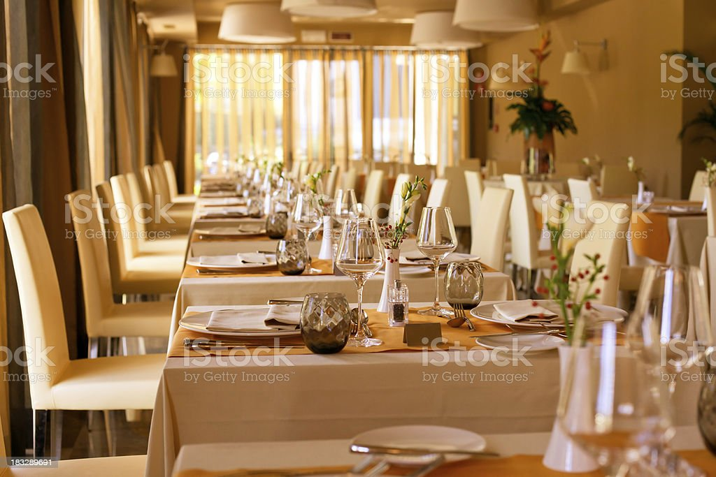 Luxury hotel restaurant table and chairs setting royalty-free stock photo