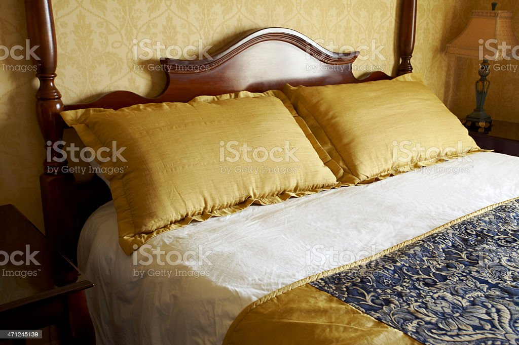 Luxury Hotel Room Bed and Pillows royalty-free stock photo