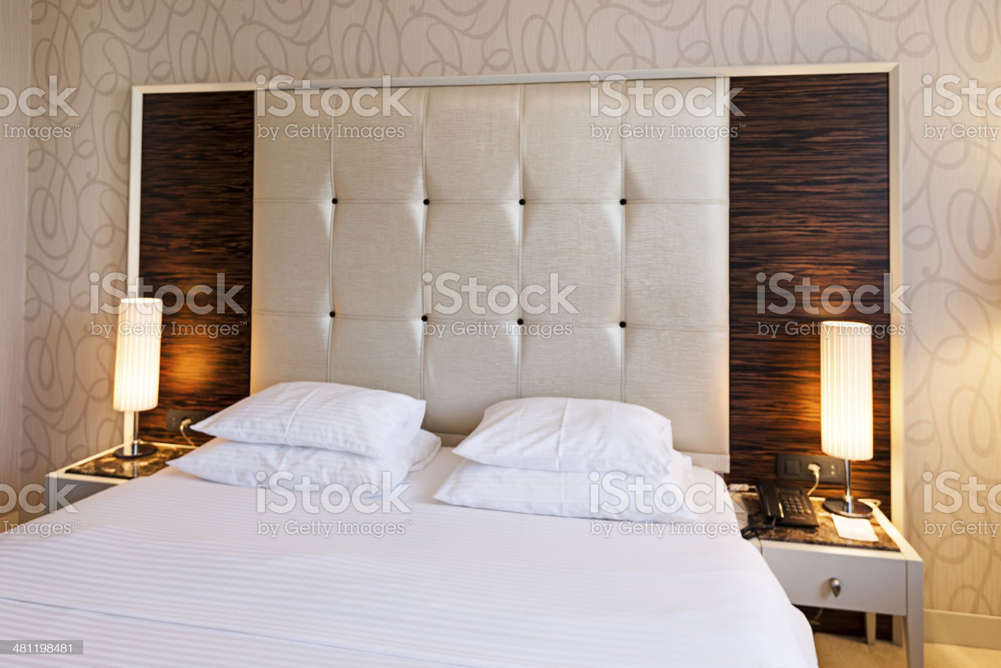 Luxury hotel room double bed modern design royalty-free stock photo
