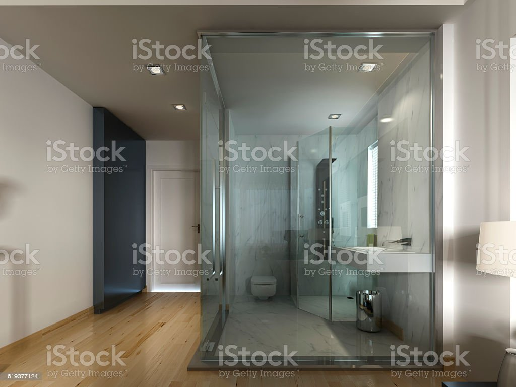 luxury hotel room in a contemporary design with glass bathroom stock photo