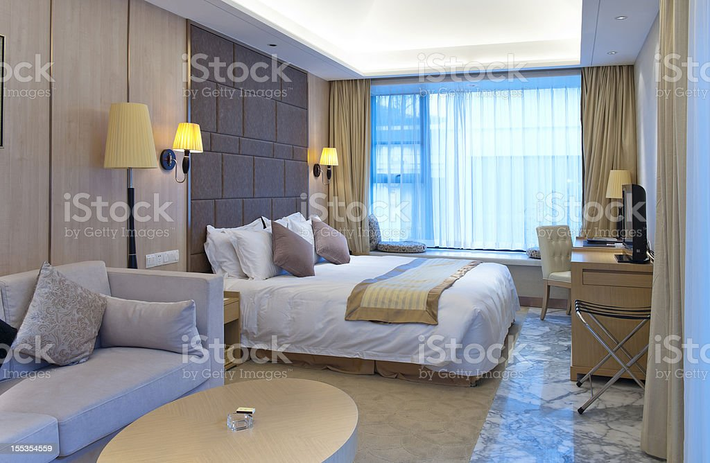 Luxury hotel room royalty-free stock photo