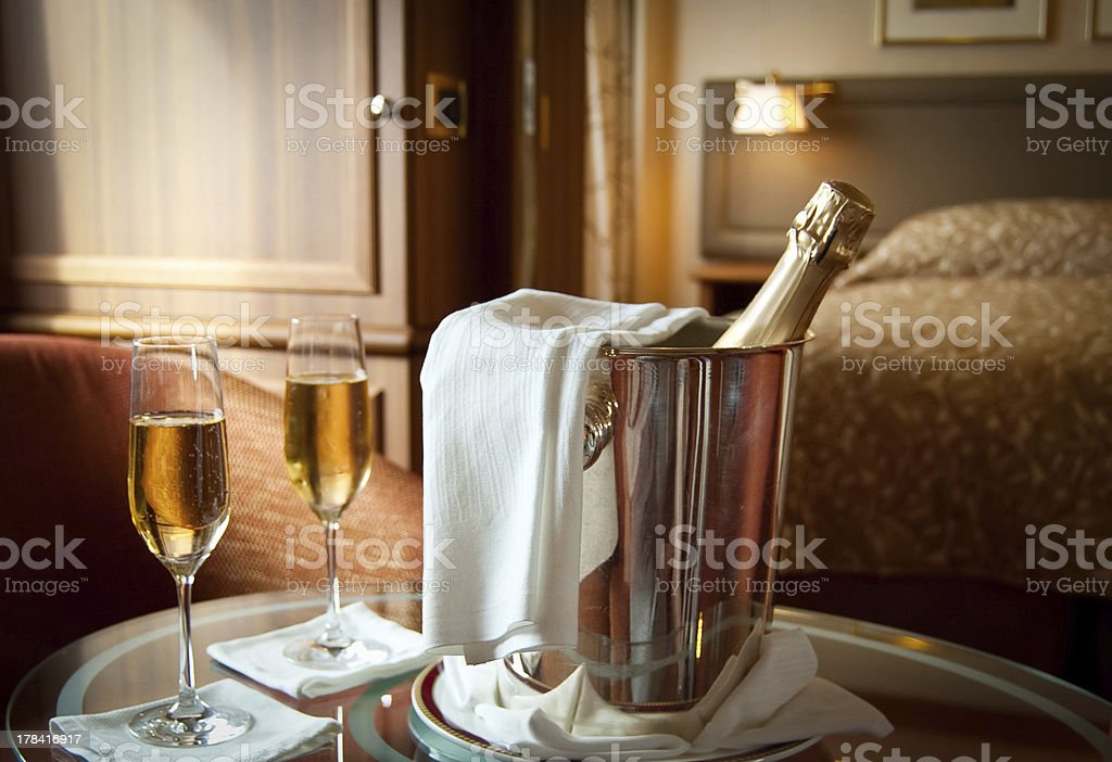 Luxury hotel room stock photo