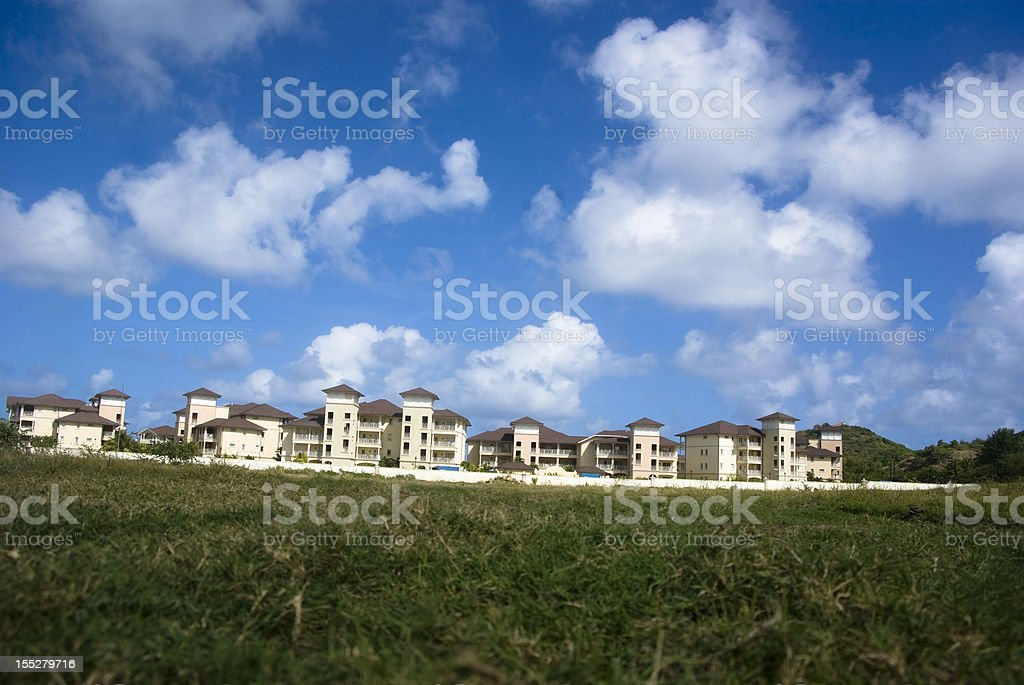 luxury hotel scenic with lawn and sky stock photo