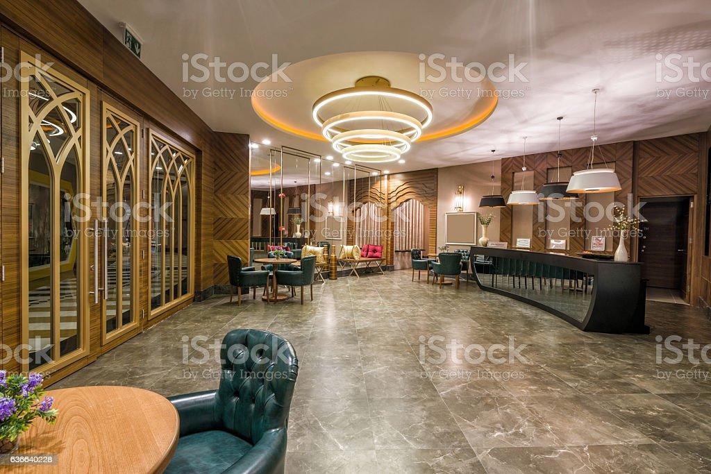 luxury hotel spa center lobby stock photo