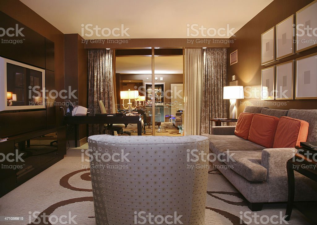 Luxury Hotel Suite At Night royalty-free stock photo
