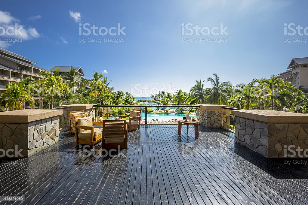 luxury hotel terrace royalty-free stock photo