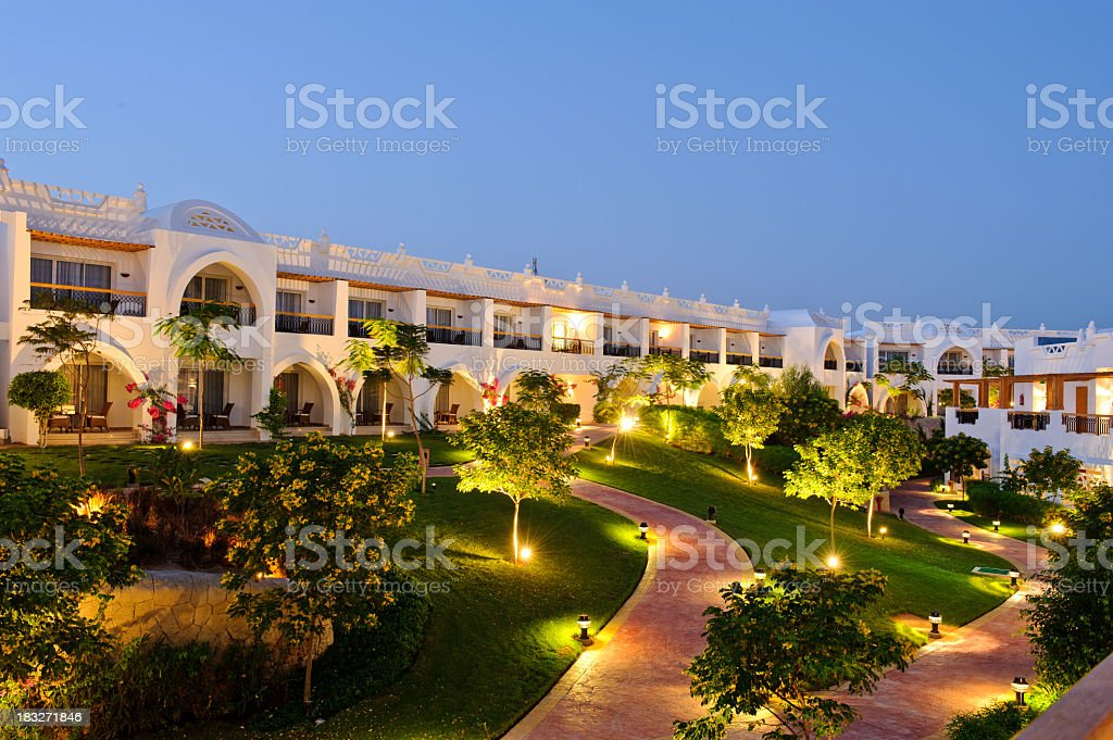 Luxury hotel territory at night royalty-free stock photo