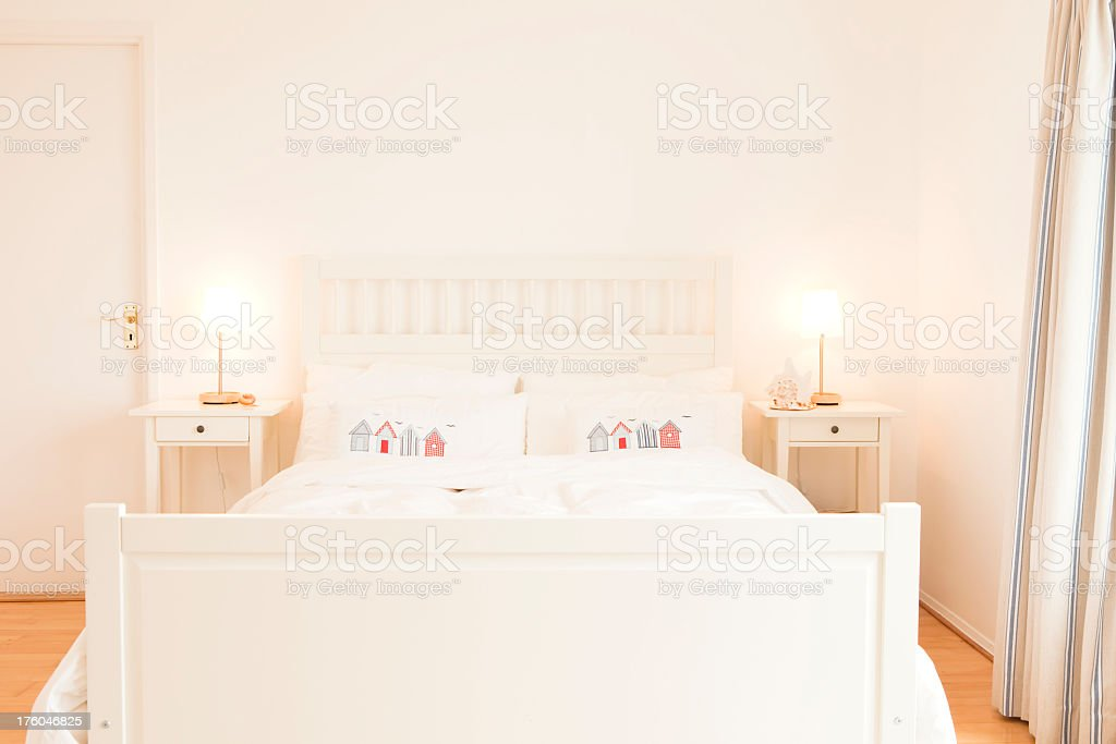 luxury hotel tranquil bedroom with seaside influence royalty-free stock photo