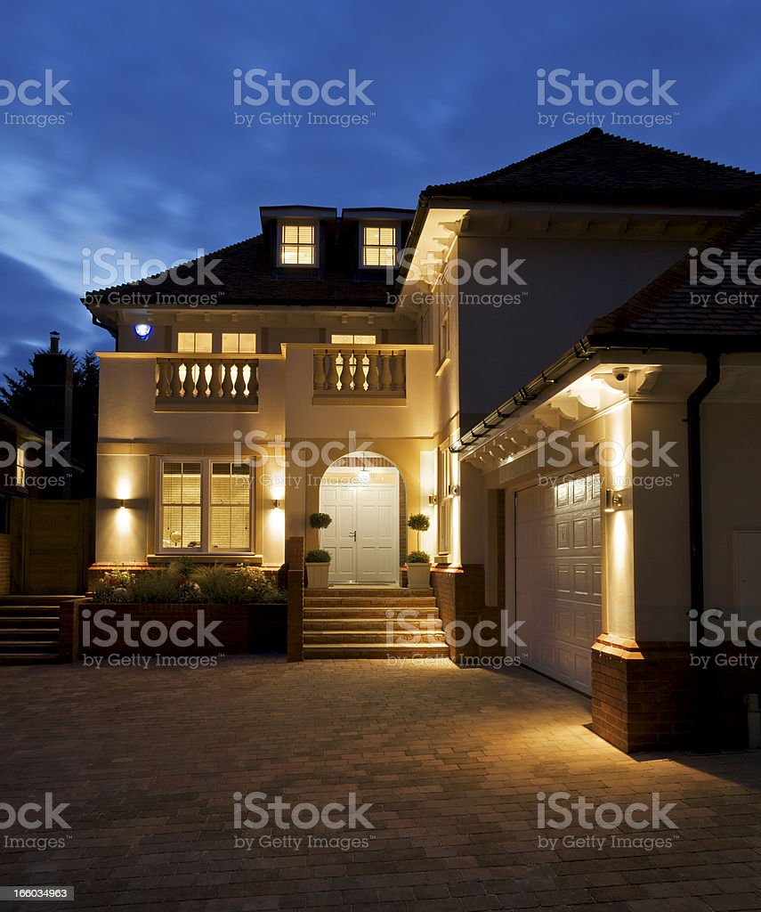 luxury house at night royalty-free stock photo