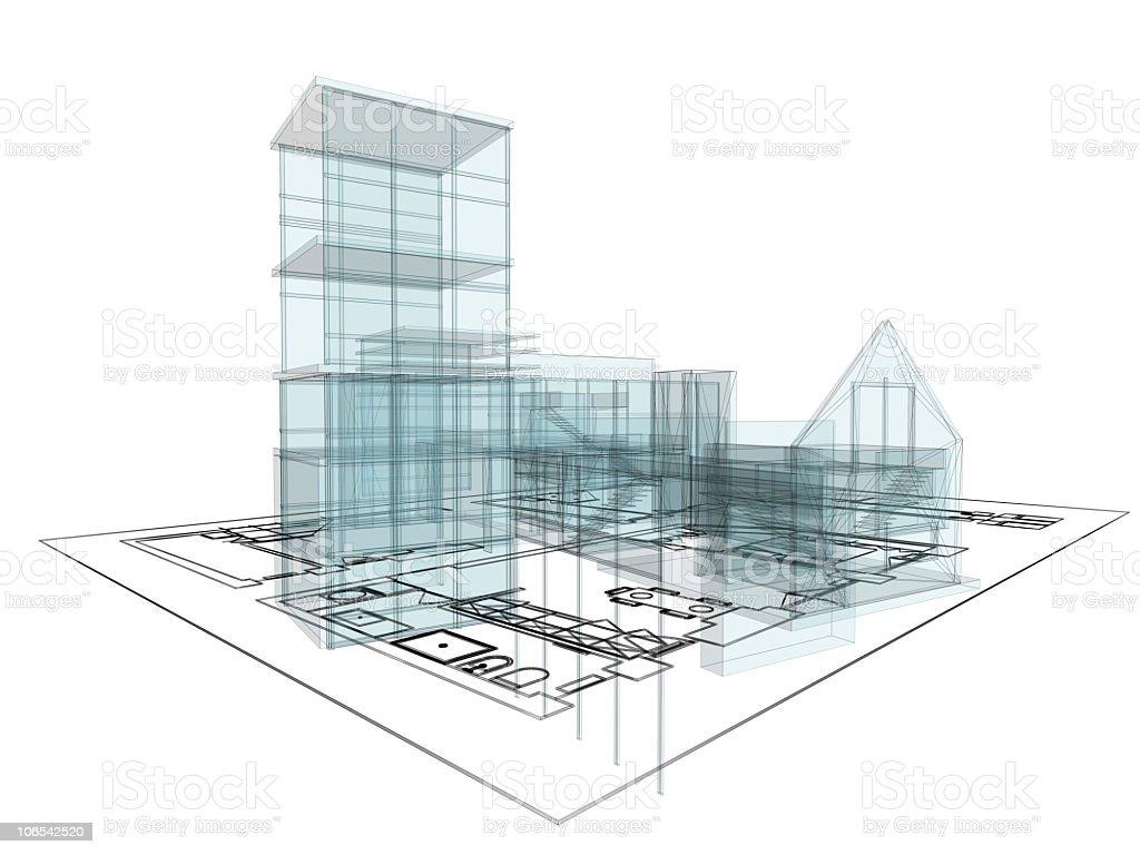 Luxury house construction plan (XXXL) royalty-free stock photo