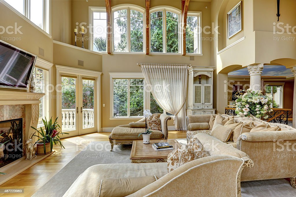 Luxury house interior. Living room stock photo