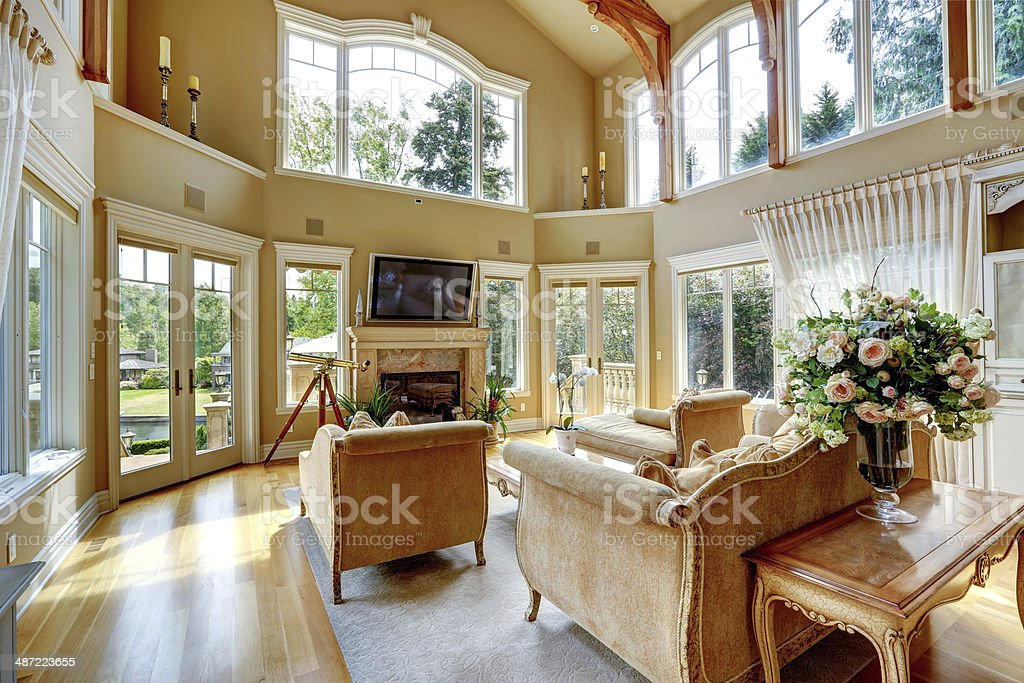 Luxury house interior. Living room with walkout deck stock photo