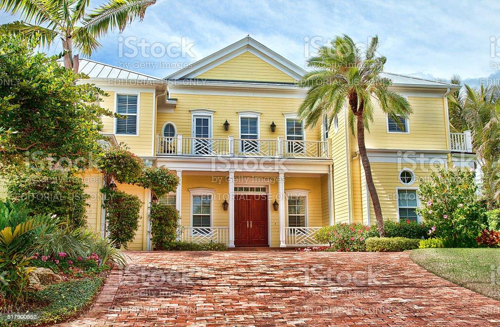 Luxury  House , Venice, Florida. Blue sky. stock photo