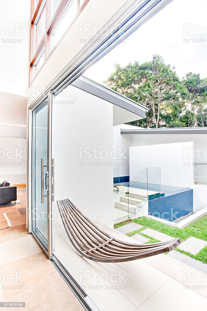 Luxury house with inside entrance door and chair stock photo