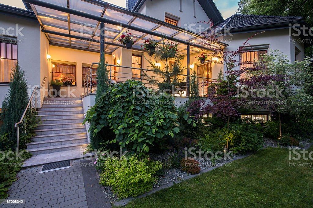 Luxury house with verandah stock photo