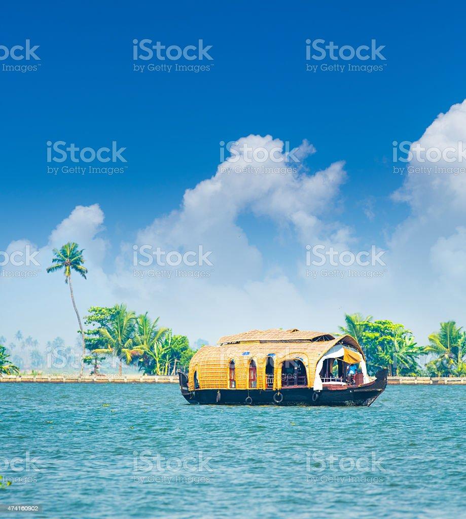 Luxury Houseboat in India stock photo