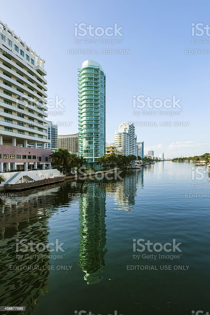 luxury houses and condos at the canal royalty-free stock photo