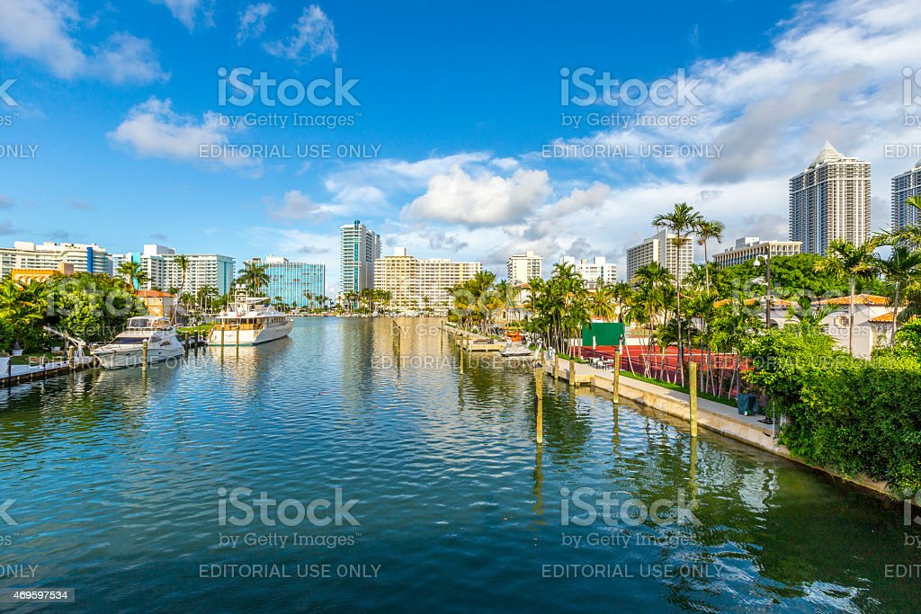 luxury houses at the canal in Miami Beach stock photo