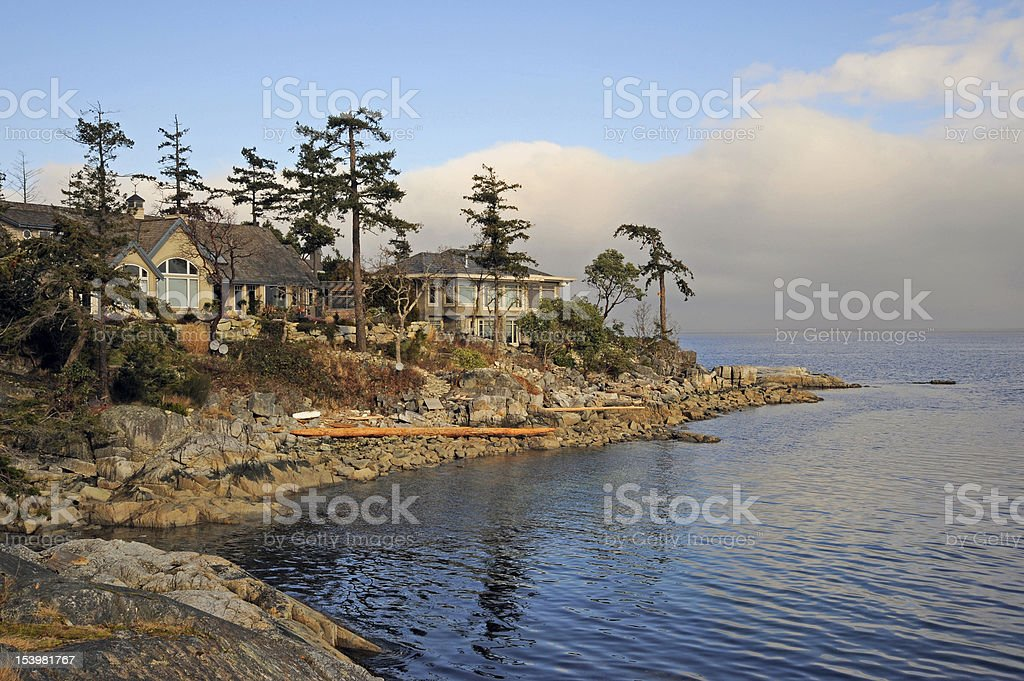 Luxury houses on the sea shore stock photo
