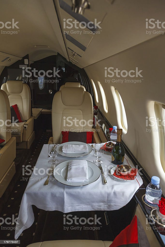 Luxury interior aircraft business aviation royalty-free stock photo
