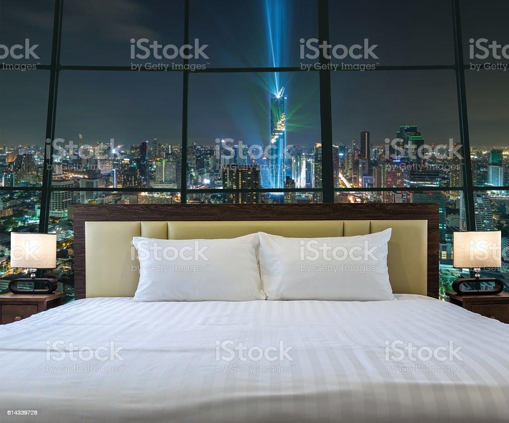 Luxury Interior bedroom with windows glass beside Top view stock photo
