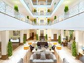 Luxury interior design lounge area of the hotel.
